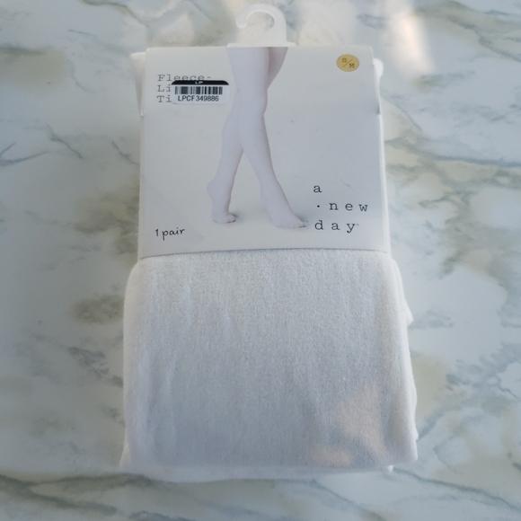Fleece Lined Tights, Ivory Small Medium